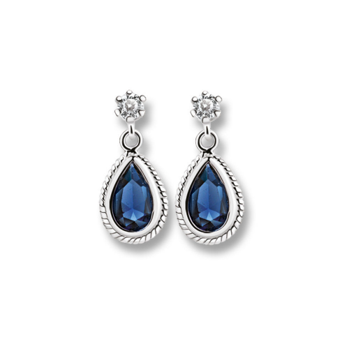 Newbridge Silverware Drop Earrings with Clear and Blue Stones